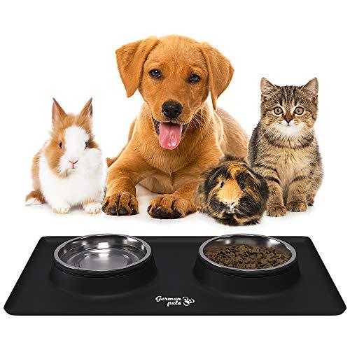 Katzenfressnapf Set mit Unterlage aus Silikon Hundenapf Katzennapf Rutschfest für Kleine Hunde und Katzen 2x 400 ml Edelstahlschüsseln Fressnapf Futternapf Katzenzubehör Hundezubehör Schwarz