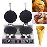 Double Head Ice Cream Cone Maker 110V 1200W Commercial Waffle Maker, Electric Ice Cream Cone Nonstick Waffle Cone Maker Machine Egg Roll Bowl Machine, Time & Temperature Control