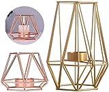 Fiyuer portavela geometrico 2 Pcs Vintage Decoración Metal candelabro línea geométricas...