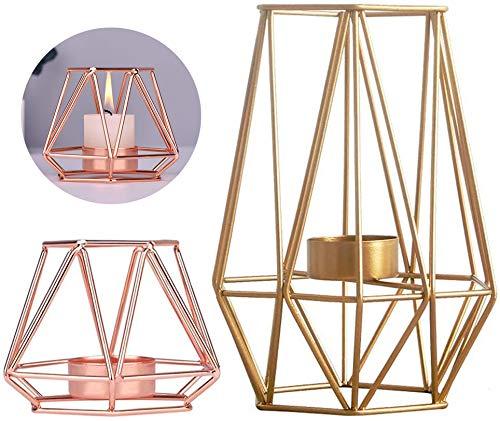 Fiyuer kerzenhalter geometrisch 2 Pcs Rose Gold kerzenständer Metal Geometric Candle Holder Candlestick teelichthalter Vintage Kerzen ständer für Hochzeiten Kaffeetischen Dekor Zeremonie Jubiläum