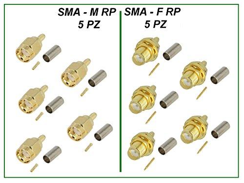 lintronik–Kit 10conectores (5+ 5) sma-rp macho y hembra sma-rp 3,2mm a crimpar...