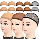 Wig Caps, LEOBRO 4 Pack Brown Stocking Wig Caps, 4 Pack Light Brown Stocking Wig Caps, 2 Pack Black Mesh Net Wig Caps, for Women Girl Men Kids, Halloween Cosplay Party Use