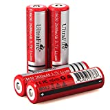 UltraFire 3.7V Battery Li-ion Rechargeable Batteries 2600mAh Button Top 4 Pack