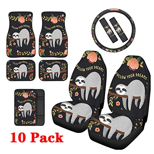 Upetstory Car Front Seat Cover Protector 10 Pack Sets Vehicle Floor Rugs Mats, Arm Rest Cushion Pads, Steering Covers, Auto Seat Belt Cover Best for Women Gift Cute Sloth Floral