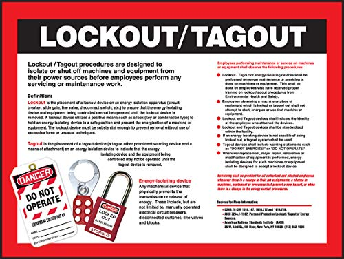 """Accuform Safety Poster SP124479L Lockout/Tagout procedures Laminated Poster, 22"""" x 17"""""""