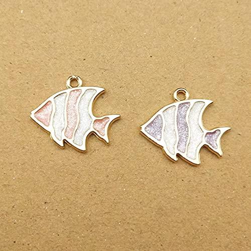 ZZMMSSGG 10Pcs 18X21Mm Enamel Fish Charm for Making Cute Earring Pendant Bracelet Necklace Charms DIY Design Charms