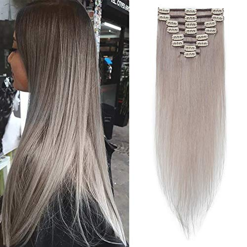 Extension Clip Capelli Veri Naturali 100% - 8 Ciocche Full Head Human Hair per Donna 45cm 70gr/pack # Grigio