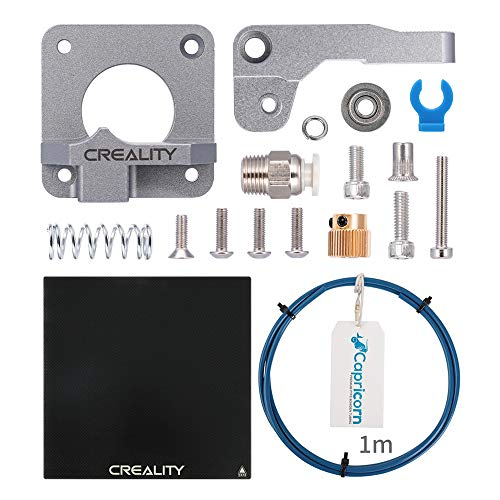 Creality Upgraded Parts Heated Bed Borosilicate Glass Plate 235x 235 x 3mm with All Metal Extruder Feeder Drive, 1M Capricorn PTFE Bowden Tubing for Ender 3 / Ender 3 Pro/Ender 5
