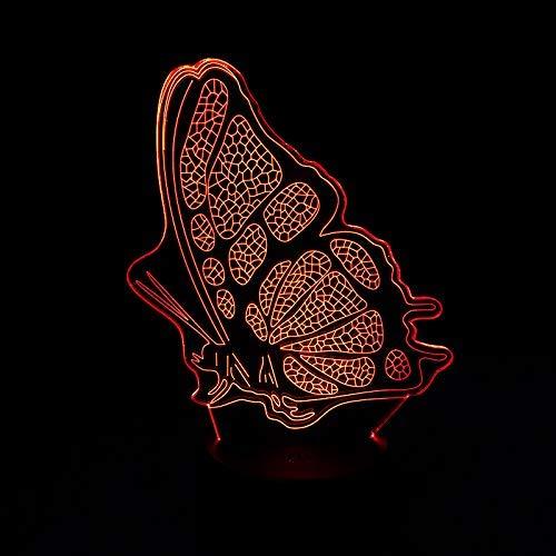Luz nocturna 3D, hermosa luz nocturna LED con alas de mariposa 7 luz de ambiente multicolor con interruptor táctil