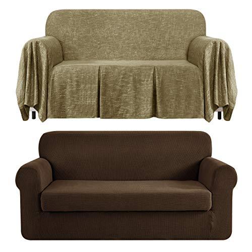 CHUN YI Stretch 2-Piece Loveseat Sofa Slipcover Bundles 1-Piece Medium Linen Sofa Throw Cover with Ruffle Design( Coffee, Khaki)