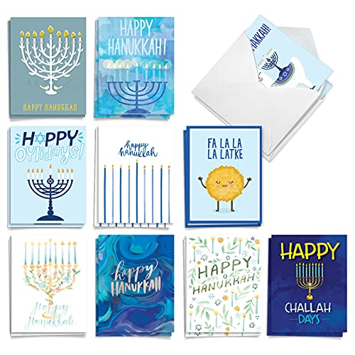 The Best Card Company Holiday Miracles - 20 Assorted Boxed Chanukah Note Cards with Envelopes (4 x 5.12 Inch) - AM9553HKG-B2x10