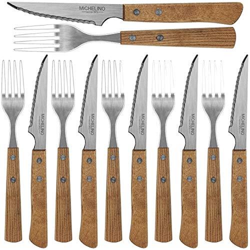 Steakbesteck mit Holzgriff 12tlg. Set Steakmesser Steakgabel Grillbesteck Messer Gabel Besteckset