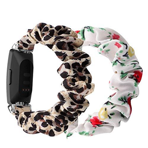 (2 unidades) Chofit Correa compatible con Fitbit Inspire 2/Inspire HR/Inspire Correas, banda de repuesto de gasa de satén para Inspire 2 Fitness Tracker (pequeño, leopardo y flor roja)