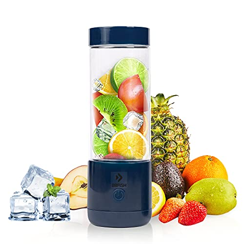 BBFISH Personal Size Portable Blender Juicer Cup for Smoothie and Shake Rechargeable and Use Easily, Mini Mixer, 13.5 Oz for Home Office Sports Travel Outdoors (Blue)