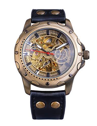 Shenhua, orologio sportivo da uomo con cassa in bronzo e cinturino in vera pelle nera
