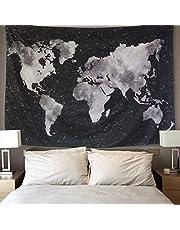 LOMOHOO Tapiz Mapa del Mundo para Pared Decoración Retro Tapiz de Tela de poliéster para Colgar Pared para Sala de Estar habitación Decoraciones Habitación En Blanco y Negro (L/148cm*200cm)