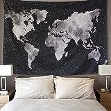 LOMOHOO Tapiz Mapa del Mundo para Pared Decoración Retro Tapiz de Tela de poliéster para Colgar Pared para Sala de Estar habitación Decoraciones Habitación En Blanco y Negro (130cm*150cm)