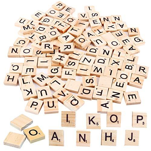 Letras de Madera, NALCY 4 Juegos Letras Mayúsculas para Manualidades, Azulejos Decorativos, 400 piezas Artesanía Alfabeto Madera A a Z, para Educación Infantil, Manualidades, Bricolaje