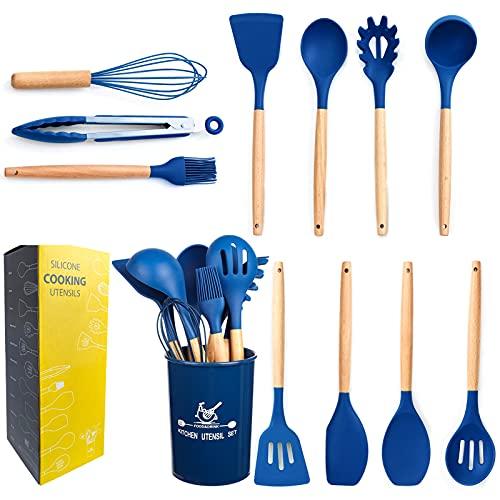 mossFlos Kitchen Cooking Utensils Set, 12 pcs Non-Stick Silicone Cooking Kitchen Utensils with Holder, Heat Resistant Kitchen Gadgets Utensil Set,Dark Blue