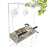 Gray Bunny GB-6895 Clear Window Bird Feeder, Compact Wild Birdfeeder with Drain Holes, Super Strong Suction Cups, Transparent Viewing, Covered, High Seed Capacity, Rubber Perch