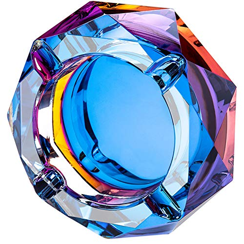 SANGFOR Crystal Ashtray Outdoors Indoors Cigarette Ashtray Ash Holder Case Bling Bling Blue Home Office Desktop Smoking Ash Tray Beautiful Decoration Craft