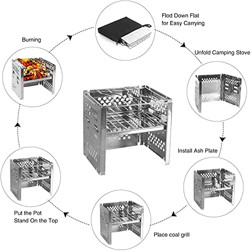 Product Image 4: Unigear Wood Burning Camp Stoves Picnic BBQ Cooker/Potable Folding Stainless Steel Backpacking Stove