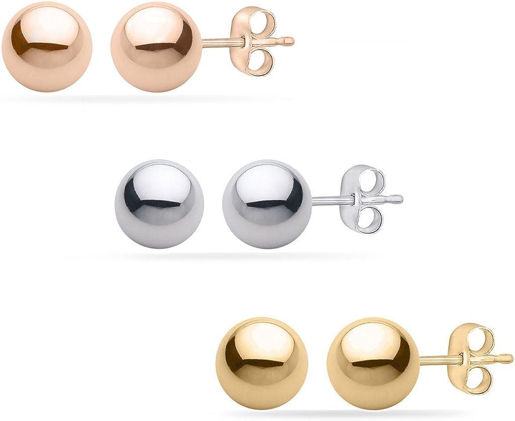 PARIKHS White Gold Ball Earrings High Polished 8MM with 14k White Gold Pushbacks