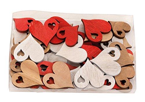 TEMPELWELT Streudeko Holzherzen Herzen In Box 48 STK Je 3,5-4,5 cm, Holz Rot Weiß Natur, Kleine Holzscheiben Herzform, Streuherzen