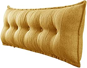 VERCART Soft Reading Pillow for Adult, Long Bed Rest Back Support Cushion for Pregnancy, Extra Large Headboard Sitting Up Pillow for Watching TV, Gaming or GERD, Detachable Linen Cover Yellow Queen