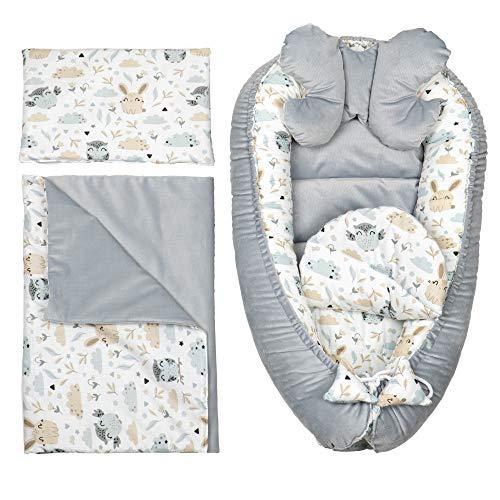 Cuna Nido Bebe Recien Nacido - Reductor de Cuna 5 Piezas con Manta y Almohada para el Cuello - Nido de Viaje para Dormir Gris