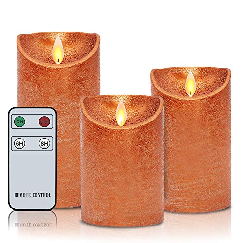 """Flameless Candles Moving Flame LED Real Wax Battery Operated Candles Set of 4'5""""6' Realistic Orange Candles with Remote 6/8 Timer for Wedding Christmas Home Party Copper"""