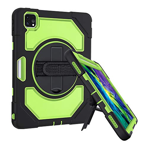 GROLEOA iPad Pro 11 Case 2020/2018, iPad 2nd Generation Case, Support Pencil Charging, Shockproof Kickstand Protective iPad 11 Case with Adjustable Hand Strap and Shoulder Strap (Green)