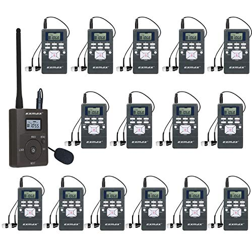 EXMAX EXG-108 DSP Wireless FM Radio Transmitter Broadcast System for Church Translation Parking Lot Tour Guide Teaching Meeting Training Travel Field Interpretation 1 Transmitter 15 Receivers (Gray)