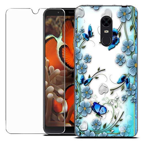 MadBee Funda para Xiaomi Redmi 5 Plus/Redmi Note 5 [con Protector Pantalla],Transparente Carcasa Silicona Ultra Fina Suave TPU Gel Bumper Case Protección con Dibujos Shell Cover (Mariposa)