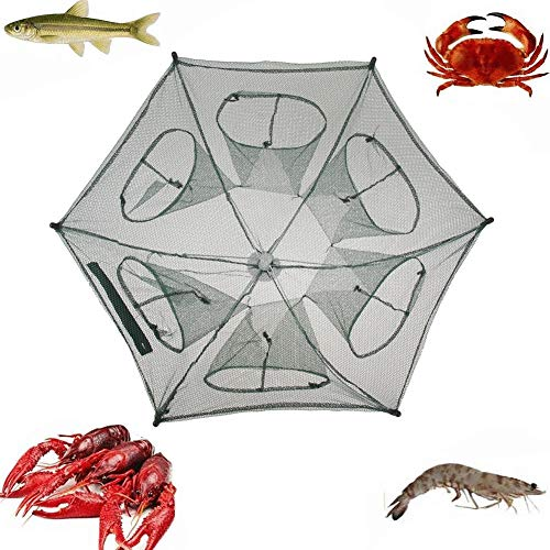 YMYGCC Fish trap 6 Holes Fishing Net Folding Hexagon Network Casting Nets Crayfish Shrimp Catcher 21 (Color : Natural)