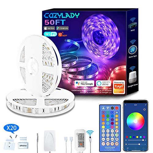Cozylady Alexa LED Streifen 15m - Smart APP Steuerbar Musik LED Strip Farbwechsel LED Stripes kompatibel mit Alexa, Google Assistant - 5050 RGB LED Band mit Netzteil und Fernbedienung