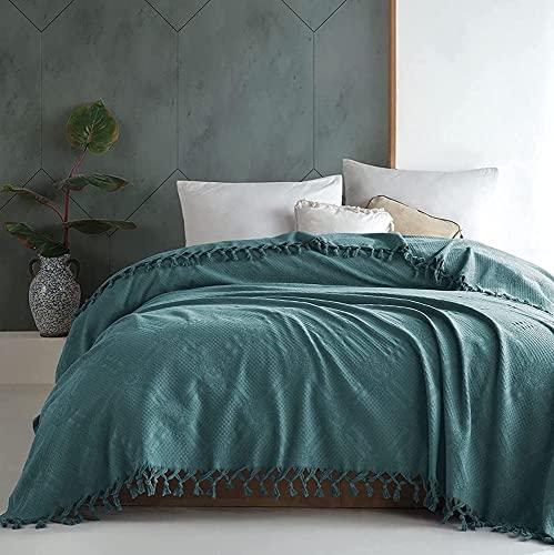 BOHORIA® Tagesdecke Dalila extra groß 220 x 240cm | 100prozent Baumwolle | Überwurf für Sofa, Sessel und Bett | Kuscheldecke Sofadecke Wohndecke (220 x 240 cm, Indian Blue)