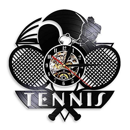 XZXMINGY Orologio in Vinile 30CM Tennis Logo Racchetta Decorazioni per Palline Disco in Vinile Orologio da Parete Torneo Tennis Match Grande Slam Orologio da Parete Regalo per Giocatori di Tennis