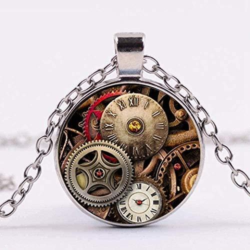 Yiffshunl Collares Steampunk Retro Reloj Impreso Collar Colgante Chapado en Bronce Cadena Punk Arte Patrón Cúpula de Cristal Collar Joyería
