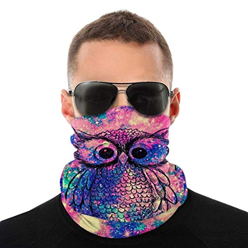 Nother Máscara facial de búho galaxia iridiscente con purpurina arco iris, máscara antiviento, máscara antipolvo, pasamontañas, bandana para el cuello, doble impresión