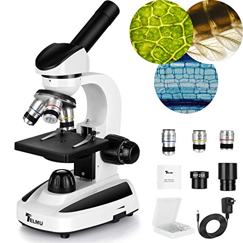 TELMU Microscope 40X-1000X, Dual Power Source LED Illumination Lab Compound Monocular Microscopes with 10 Slides for Kids/Students/Adult