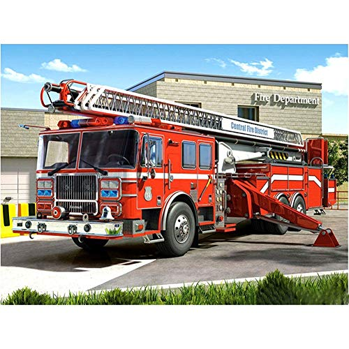 DIY Diamond Embroidery 5D Full Drill Adults Kit Fire Engine Diamond Painting Crystal Rhinestone Cross Stitch Embroidery Kits Canvas Arts Pictures Craft,for Home Wall Decor Gift 25x30cm(9.8x11.8in)