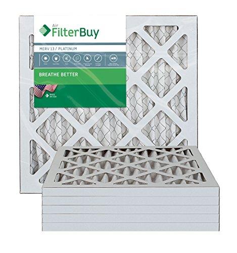 FilterBuy 14x14x1 Air Filter MERV 13, Pleated HVAC AC Furnace Filters (6-Pack, Platinum)