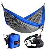 HONEST OUTFITTERS Single & Double Camping Hammock with Hammock Tree Straps,Portable Parachute Nylon Hammock for Backpacking Travel Royal Blue