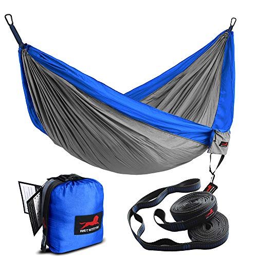 "HONEST OUTFITTERS Single Camping Hammock with Basic Hammock Tree Straps,Portable Parachute Nylon Hammock for Backpacking Travel Royal/Grey 55"" W x 108"" L"