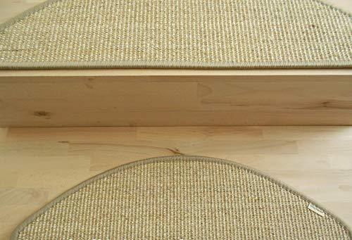 BELLOsteps Stufenmatten ohne kleben Sisal selbsthaftend Halbmond 65x22cm 15er Set