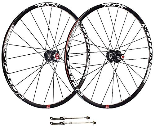 AIFCX Mountainbike-Rad, 26-Zoll-Double Wall MTB Cassette Hub Quick Release V-Brake-Fahrrad Wheelset Hybrid 24-Loch Disc 8 9 10 Speed,Black-26inch