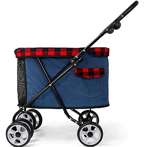 Pet Stroller, Hond Kat Kinderwagen Kinderwagen Jogger Buggy, 15kg Kleine Hond, met een grote ruimte ventilatie en Visor Shade Wheels Shockproof (Color : A)