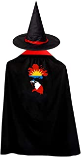 Antigua And Barbuda Continent Shape Flag Witch Wizard Cloak Cape With Hat Halloween Costumes For Girls Boys