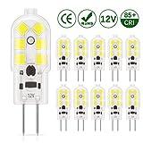 DiCUNO 10-Pack G4 LED 1.5W Ampoule, 180LM, AC/DC 12V Ampoules d'éclairage équivalent à 20W halogène, Lumière du jour Blanc 6000K, non dimmable, remplacement pour Cooker éclairage